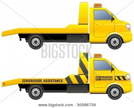 Roadside assistance car towing truck.