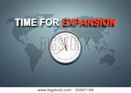 A wall with the words time for expansion
