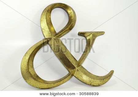 Gold Antiqued Ampersand Symbol