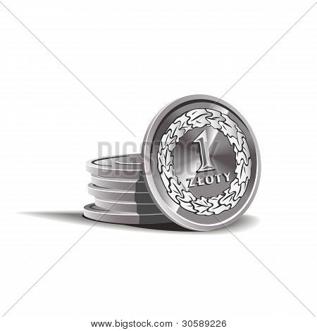 zloty coins vector illustration, financial theme