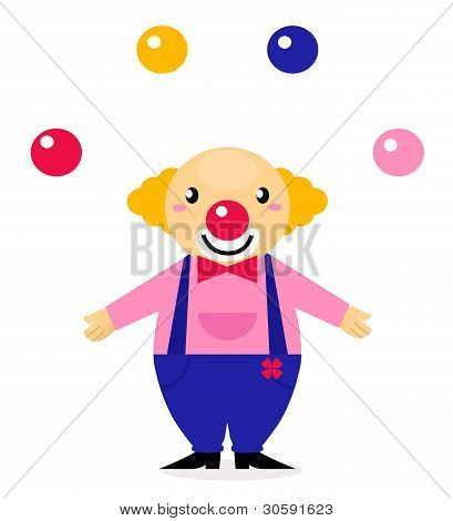 Juggling Colorful Circus Clown Isolated On White