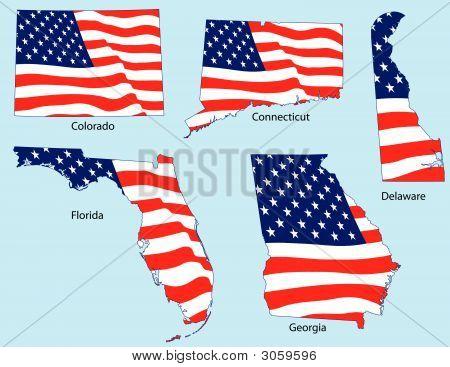 Cinco Estados con banderas