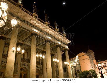 Juarez Theater With Moon Guanauato, Mexico