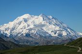 stock photo of denali national park  - This image shows a winding road leading to Mt - JPG