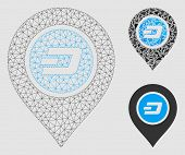 Mesh Dash Map Pointer Model With Triangle Mosaic Icon. Wire Carcass Triangular Mesh Of Dash Map Poin poster