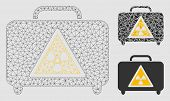 Mesh Dangerous Luggage Model With Triangle Mosaic Icon. Wire Frame Polygonal Mesh Of Dangerous Lugga poster