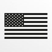 Usa Flag Icon. Black And White United States Of America National Symbol. Vector Illustration. poster