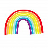 Rainbow Icon On White Background. Colorful Line Set. Cute Cartoon Kawaii Kids Clip Art. Greeting Car poster