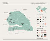 Vector Map Of Senegal. Country Map With Division, Cities And Capital Dakar. Political Map,  World Ma poster