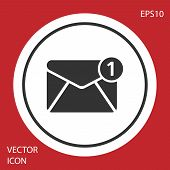 Grey Envelope Icon Isolated On Red Background. Received Message Concept. New, Email Incoming Message poster