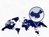 China Detailed Map Highlighted On Blue Rounded World Map. Map Of China In Circle. poster