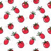 Tomato, Cherry Tomato Hand Drawn Pattern Vector Illustration. Tomato Hand Drawn Sketch Seamless Patt poster