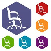 Salon Chair Icon. Simple Illustration Of Salon Chair Vector Icon For Web poster