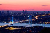 stock photo of bridge  - Istanbul Bosporus Bridge view on beautiful sunset - JPG