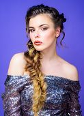 Braided Hairstyle. French Braid. Professional Hair Care And Creating Hairstyle. Beauty Salon Hairdre poster