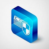 Isometric Money Protection Icon On White Background. Financial Security, Bank Account Protection, Fr poster