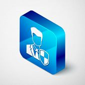 Isometric User Protection Icon Isolated On White Background. Secure User Login, Password Protected,  poster