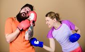 Couple Girl And Hipster Practicing Boxing. Sport For Everyone. Amateur Boxing Club. Equal Possibilit poster