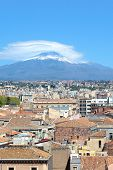 Vertical Picture Capturing Famous Mount Etna Overlooking The Sicilian City Catania, Italy. Smoke Clo poster