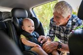 Grandfather tying baby in child seat. Cute little boy going for road trip with grandfather. Happy se poster