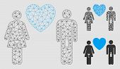 Mesh Drunky Love Pair Model With Triangle Mosaic Icon. Wire Carcass Triangular Mesh Of Drunky Love P poster