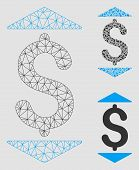 Mesh Dollar Up Down Model With Triangle Mosaic Icon. Wire Frame Polygonal Mesh Of Dollar Up Down. Ve poster