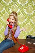 foto of babbler  - kid girl retro hip vintage talking busybody with red telephone - JPG