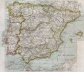 Постер, плакат: Политическая карта Испании и Португалии Поль Видаль де Lablache Атлас Classique создатель Колин Париж