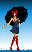picture of wet pants  - pretty girl walking in wet clothes in the rain  - JPG