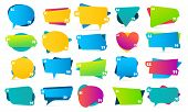 Color Quote In Quotes. Quotation Frames, Mention Remarks And Colorful Bubble Mention Message Templat poster