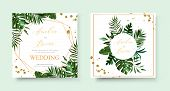 Wedding Tropic Exotic Summer Golden Geometric Triangular Frame Invitation Card Save The Date With Gr poster