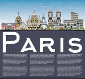Paris France City Skyline with Color Buildings, Blue Sky and Copy Space. Business Travel and Concept poster