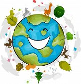 Illustration of a Happy Earth Mascot