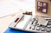 Calculator, Key, Keychain Broker Business Elements. Real Estate Agent Service. Property Selling Conc poster