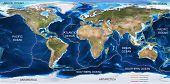 foto of plating  - World Tectonic Plates Map with all major plates described - JPG