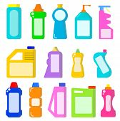 Cleaning Household Products. Chemical Cleaners Bottles. Sanitary Containers Vector Set. Chemical San poster