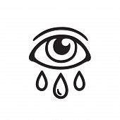 Eye With Three Tears, Black And White Drawing. Crying Human Eye And Teardrop Tattoo Design. Isolated poster