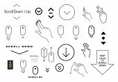 Modern Linear Pictogram Of Scroll Down. Set Of Concept Line Icons Scroll Down. Icons Of Scroll Down. poster