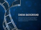 Film Strip Roll Poster. Movie Production With Realistic Blank Negative Film Frames And Text. Vector  poster
