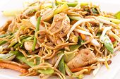 stock photo of chinese wok  - chinese stir fried noodles with chicken - JPG