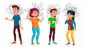 Anxiety Group Of Characters Man And Woman Vector. Design Sad And Unhappy Anxiety Young Boy And Girl  poster