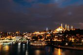 Night City Istanbul. Istanbul Night Landscape. Night View Of The City. Galata Tower, Galata Bridge,  poster