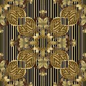 Striped Ornate 3d Vector Seamless Pattern. Ornamental Gold Leaves Background. Vintage Floral Surface poster
