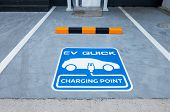 Charging Station For Electric Vehicle.outdoor Car Parking . Blue Sign Ev Quick Charging Point . poster