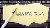 Objective-c Programming Language. Paper Width Word Objective-c And Pencil On Laptop Keyboard poster
