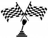 Checkered Flag Two Crossed W Stick Shift poster