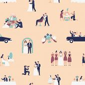 Seamless Pattern With Bride And Groom Preparing For Wedding Ceremony. Backdrop With Preparations For poster