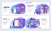 Landing Pages Template Set For Business Startup, Shopping, Education, Mobile App Development. Modern poster