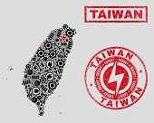 Composition Of Mosaic Power Supply Taiwan Map And Grunge Watermarks. Mosaic Vector Taiwan Map Is Cre poster