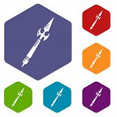 Spear Battle Icon. Simple Illustration Of Spear Battle Vector Icon For Web poster